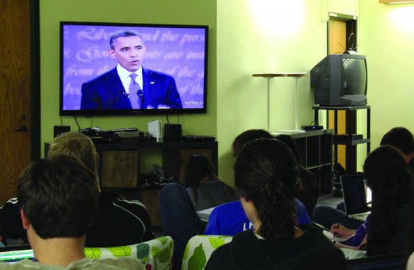 Students gather in CRC to watch, discuss presidential debate