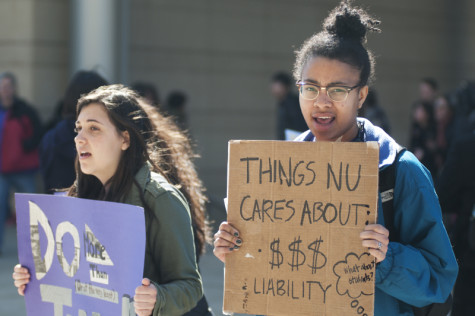 Students protest at kickoff of Northwestern capital campaign