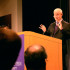 "University President Morton Schapiro answers audience questions after his ""Conversations with President Schapiro"" talk in the McCormick Tribune Center on Thursday morning. Schapiro will hold a similar event Wednesday at Northwestern's Chicago campus."
