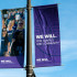 "Banners publicizing Northwestern's ""We Will"" fundraising campaign went up across campus following the announcement of the initiative, which aims to raise $3.75 billion for the University."