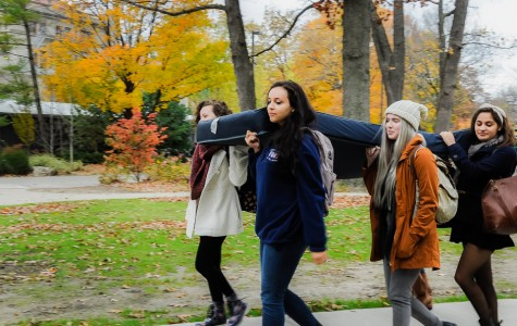 Students carry mattresses in national demonstration against sexual assault