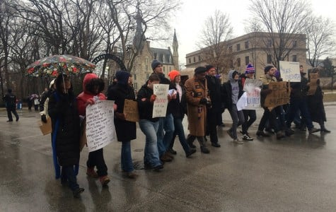 Seminary members march through Evanston after grand jury decisions in Missouri, New York
