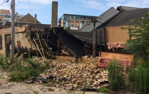Building collapse causes electrical fire on Ridge Avenue