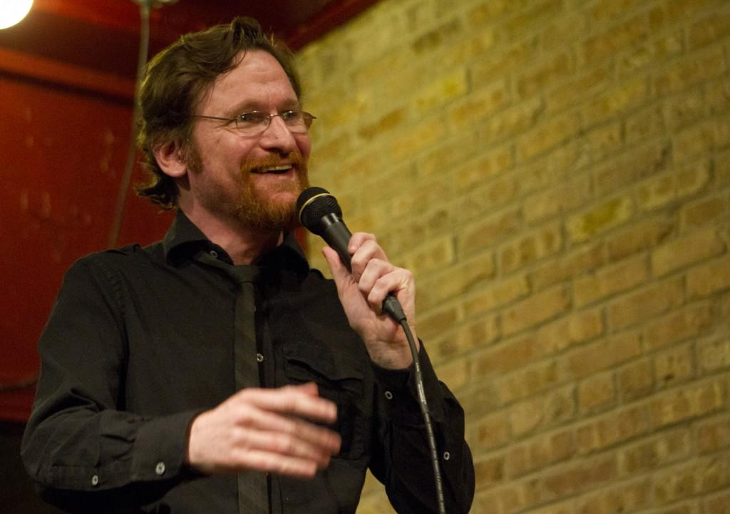 Comedian+Adam+Burke+performs+for+an+audience+of+15+at+Evanston%E2%80%99s+J.J.+Java.+The+event+was+part+of+a+new+weekly+show+at+the+local+coffee+shop.