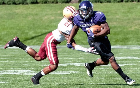 Northwestern running back Venrik Marc dodges a tackle against Boston College on Sept. 15. The Wildcats went on to beat the Eagles 22-13.