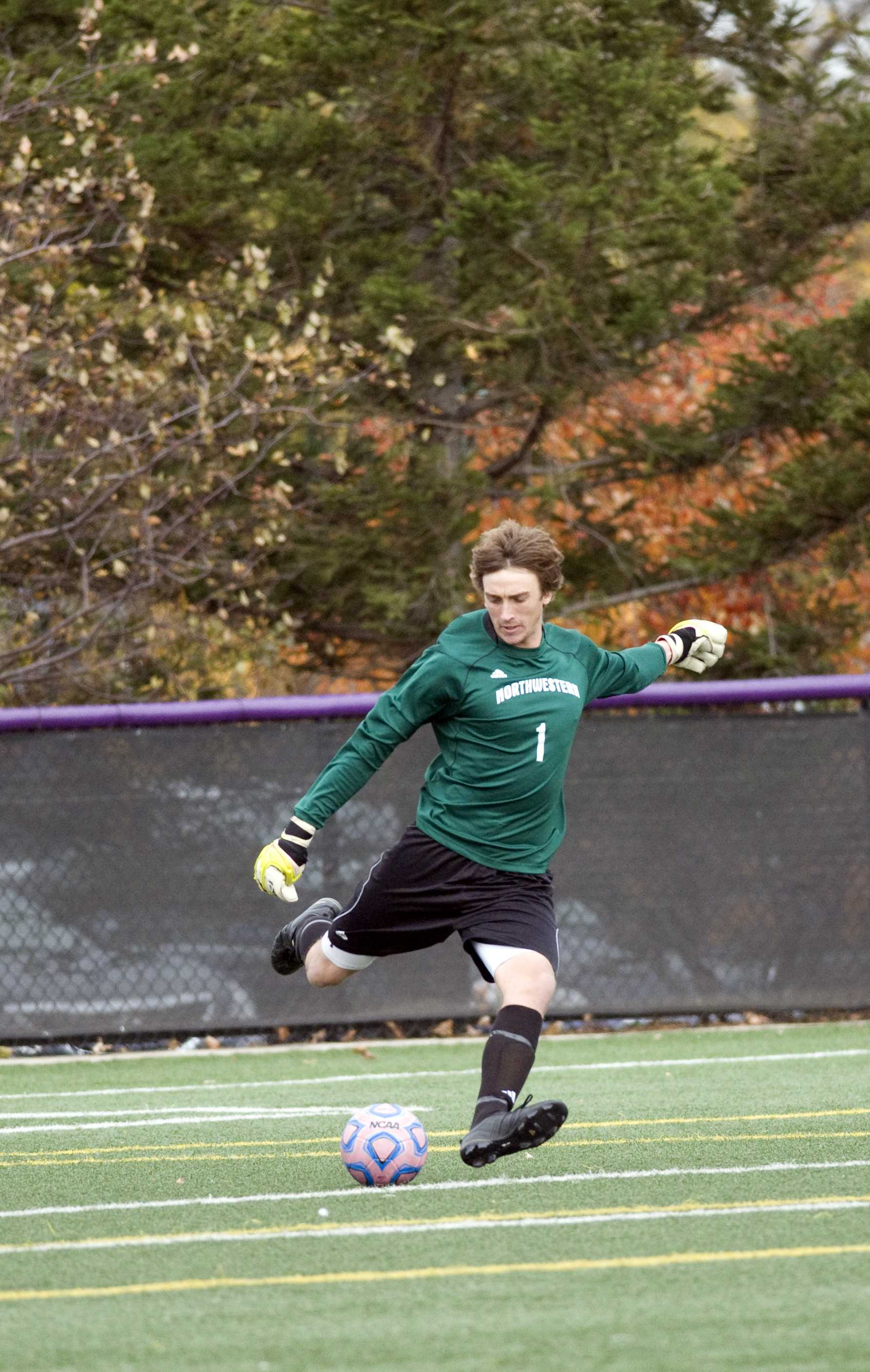 GETTING DEFENSIVE Goalie Tyler Miller and the stingy NU defense have been a big reason behind the Cats' unblemished record. The team has held their opponents scoreless five times so far this season.