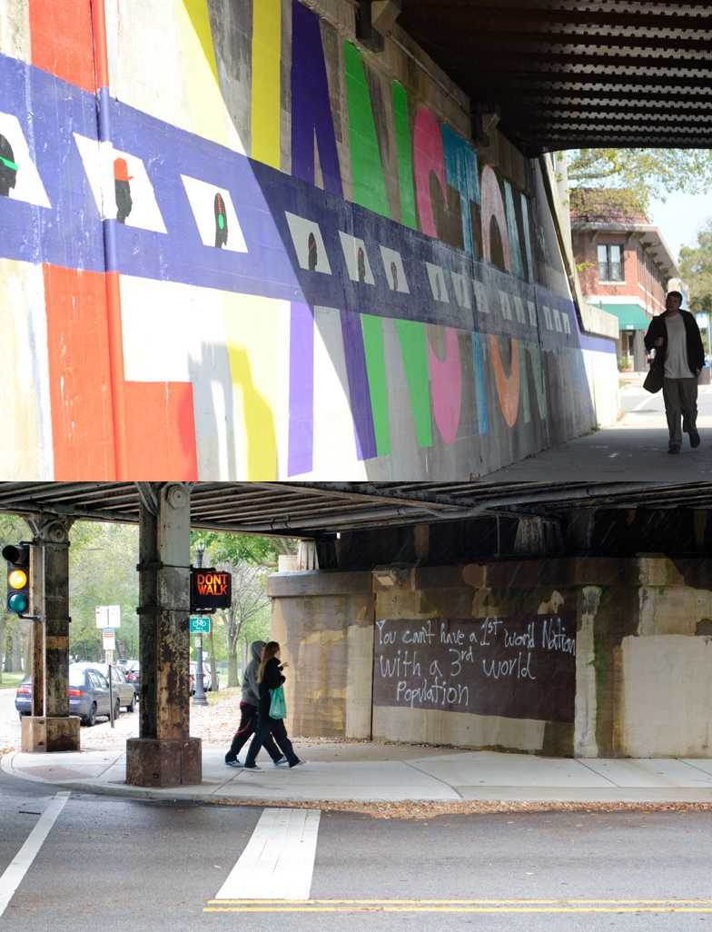 The viaduct at the intersection of Green Bay Road and Central Street after being painted by students (top). A graffitied viaduct pictured in the Fall of 2011 (below).