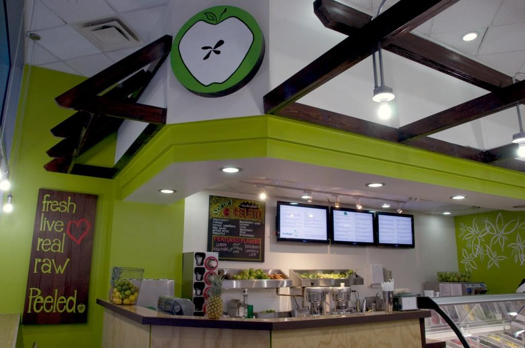 Peeled touts an extensive menu of healthy juices and smoothies.