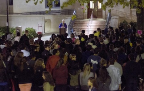 University chaplain Timothy Stevens addresses the students and faculty in attendance at the vigil that was previously planned in solidarity with Maddula's family. The vigil was planned before the press conference was announced.