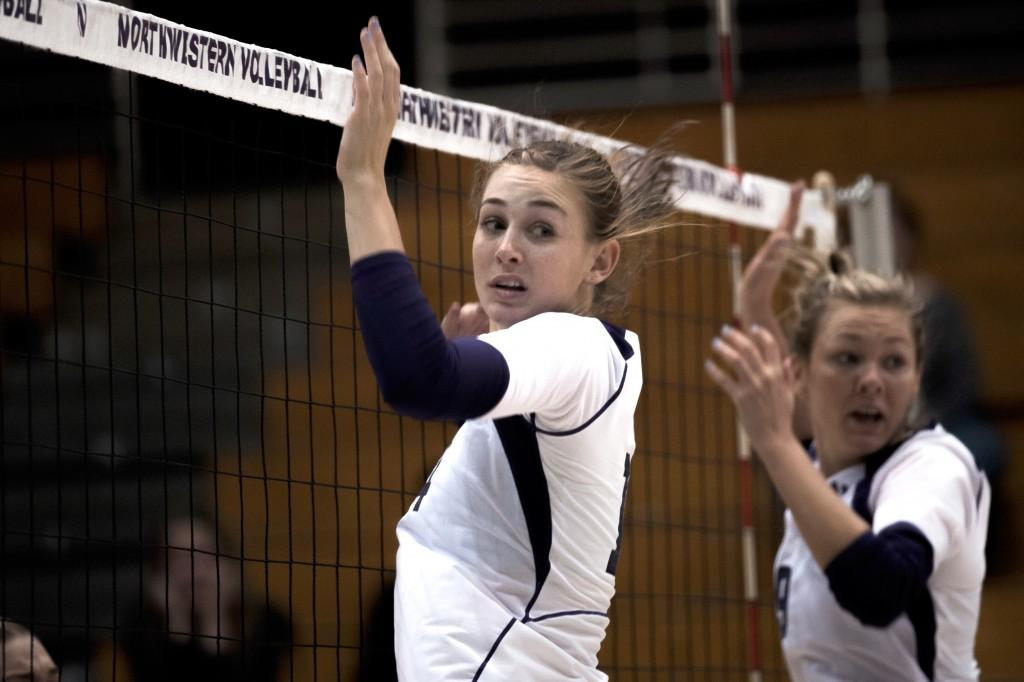 Northwestern+middle+blocker+Katie+Dutchman+%28center%29+and+safety+Madalyn+Shalter+%28right%29+react+as+a+ball+sails+past+them+in+the+final+set+of+their+Sept.+23+defeat+by+Minnesota.