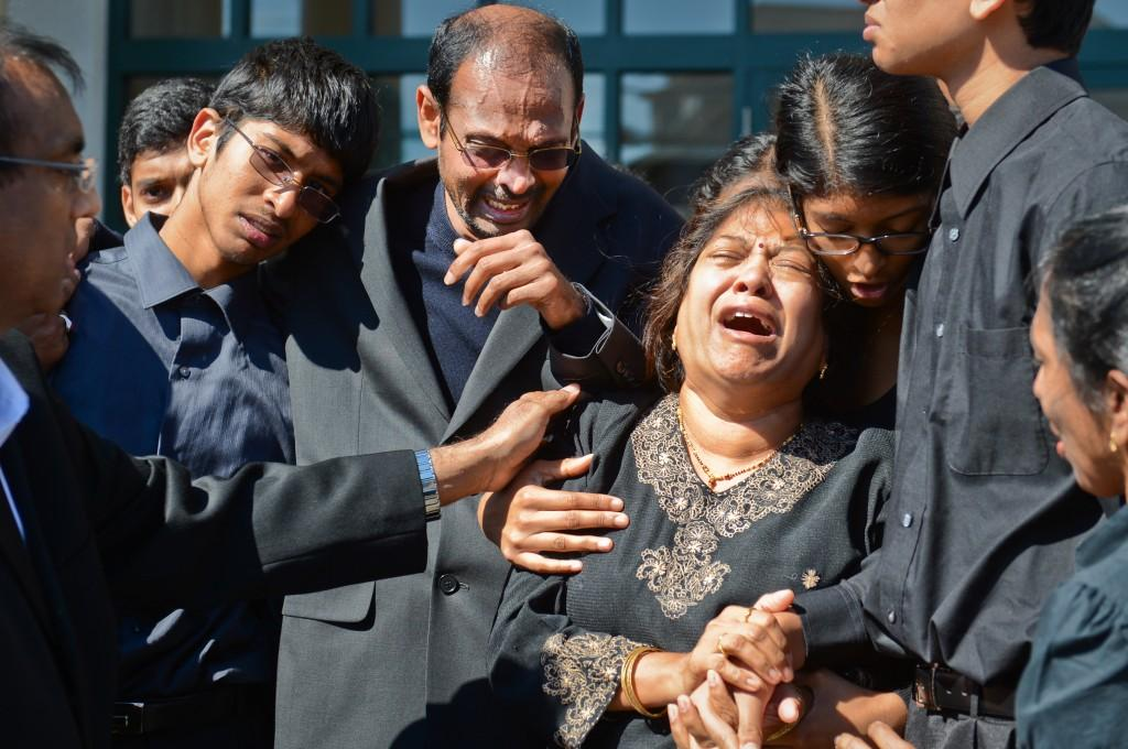 Family+members+grieve+outside+Harsha+Maddula%27s+funeral+in+New+Hyde+Park%2C+N.Y.+Northwestern+chaplain+Timothy+Stevens+reportedly+spoke+during+the+service.