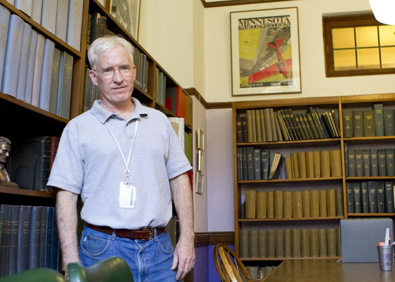 University+archivist+Kevin+B.+Leonard+spends+his+days+chronicling+Northwestern%27s+history+in+Deering+Library.