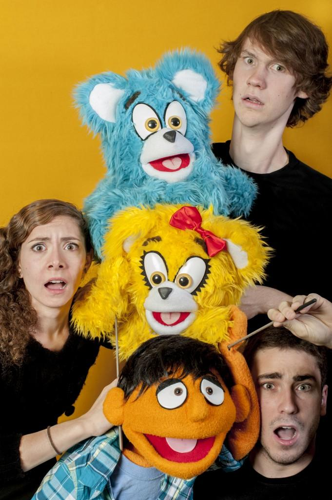 Communication sophomore Scott Egelston, junior Gaby Febby and junior Jonny Stein (top to bottom) pose for a promotional image for the Northwestern production of