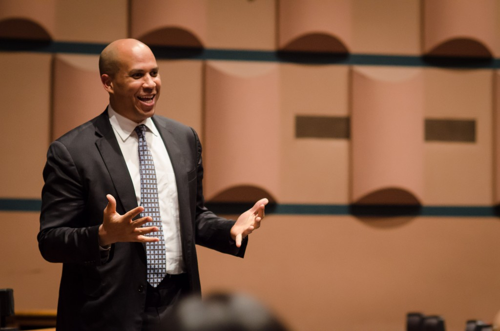 Newark%2C+N.J.%2C+Mayor+Cory+Booker+speaks+to+students+in+Cahn+Auditorium+on+Tuesday+evening.+Booker+addressed+his+rise+to+one+of+the+country%E2%80%99s+most+high-profile+mayors.