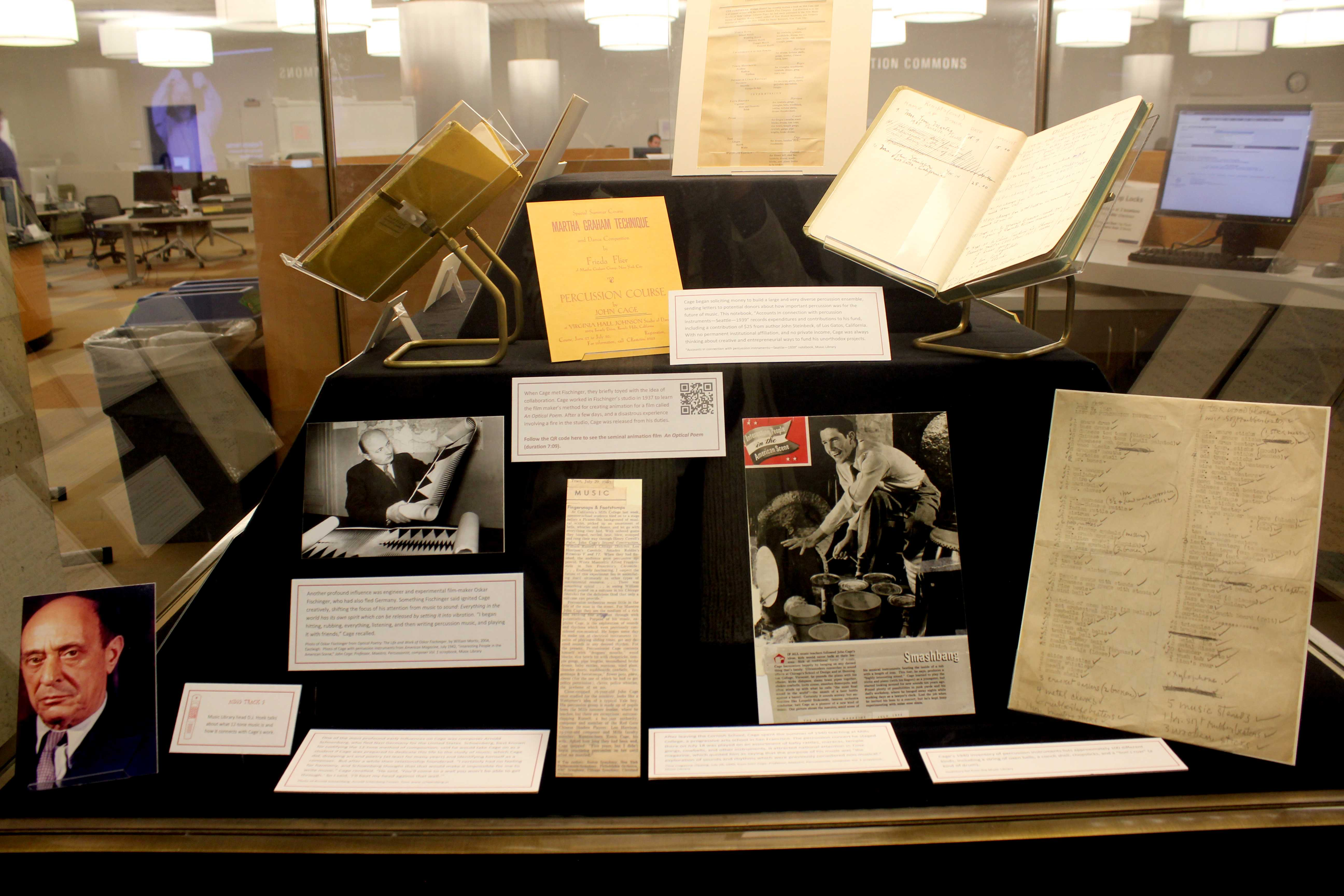 John Cage's original compositions are displayed in an exhibit at University Library. Featured along with his sheet music are old letters and notes that Cage both sent and received throughout his lifetime.