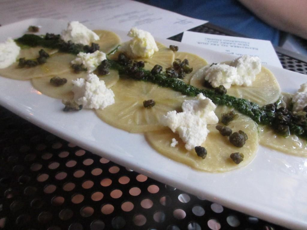 Corzetti+with+pesto%2C+ricotta+and+capers+from+Moderno+in+Chicago%27s+Highland+Park+neighborhood.
