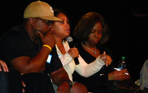 Evanston resident and mother Tanashua Slaton during a panel discussion about Dajae Coleman's death. The community forum was hosted Monday night at the McGaw YMCA.