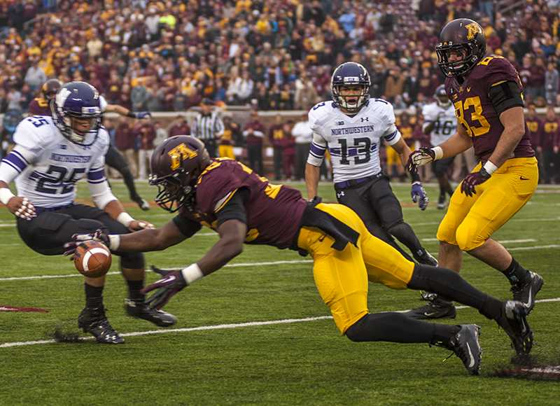 Minnesota+return+man+Lamonte+Edwards+fumbles+the+opening+kickoff+of+Saturday%27s+game.+Northwestern%27s+CJ+Bryant+recovered.+The+Cats+benefited+from+Minnesota+miscues+all+afternoon.