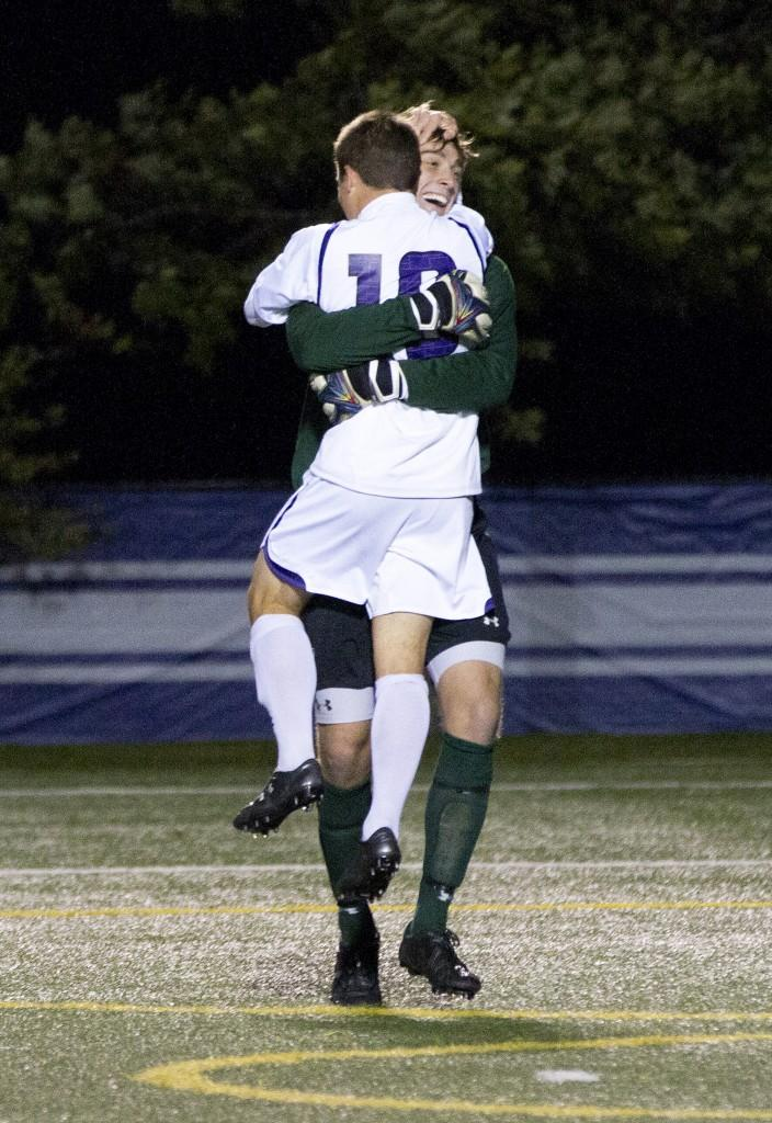 Goalkeeper+Tyler+Miller+embraces+forward+Joey+Calistri+after+the+Wildcats%E2%80%99+2-1+win+over+no.+7+Notre+Dame.+Calistri+notched+one+goal+and+assisted+on+the+other+in+the+contest%2C+while+Miller+stopped+six+shots.