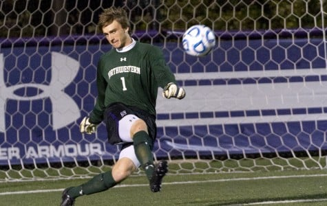 Northwestern goalie Tyler Miller clears the ball at a home game. Miller and NU's defensive line have been key to the Wildcats' overall success.