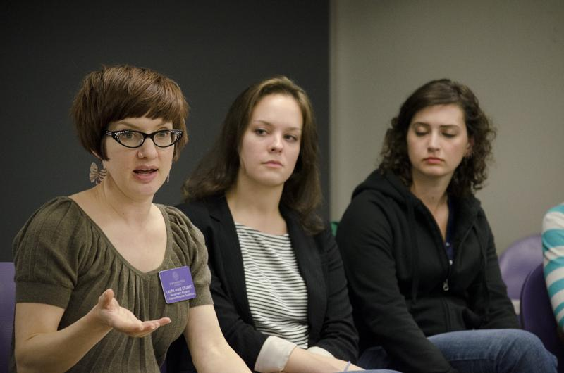 Laura Anne Stuart (left), coordinator of sexual violence response services and advocacy at the Center for Awareness, Response and Education, speaks at a discussion about sexual assault policies on campus. Seated next to her are (from right) Northwestern seniors Lisa Velkhoff and Katie Sanford, co-presidents of NU Active Minds, one of the campus groups who planned the event.