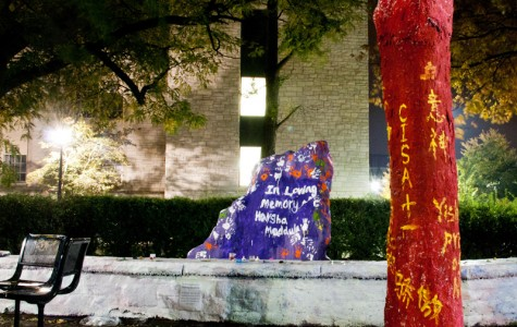 Chinese student group paints tree next to Rock for national holiday