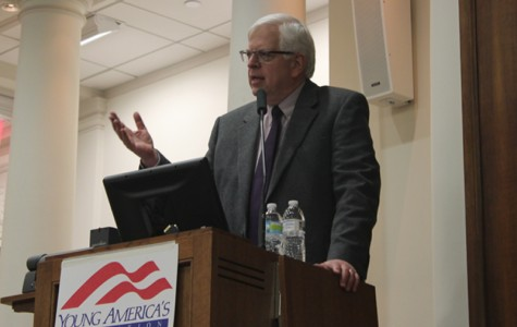 Dennis Prager, host of his own eponymous radio talk show, speaks about his religious and political views at an event hosted by the College Republicans. The author and lecturer is an advocate for both Judeo-Christian and conservative values.
