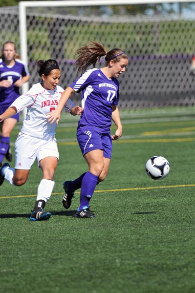 Junior Kate Allen breaks away early against Purdue on Friday but fails to find the back of the net. NU had several close calls on the weekend but came away scoreless.