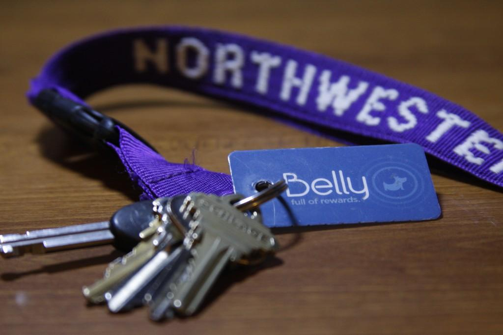 A+loyalty+card+from+Belly%2C+a+Chicago-based+start-up%2C+is+pictured+with+a+set+of+keys.+The+Bellycard+rewards+program+offers+points+for+purchases+made+on+campus+and+in+Evanston.+