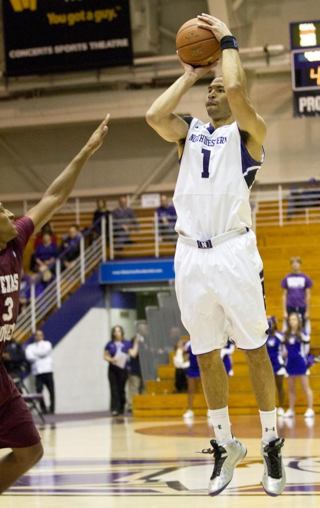 Northwestern+forward+Drew+Crawford+attempts+a+shot+during+Tuesday%E2%80%99s+game+against+Texas+Southern.+Crawford+led+all+scorers+with+20+points+as+the+Wildcats+routed+the+Tigers.