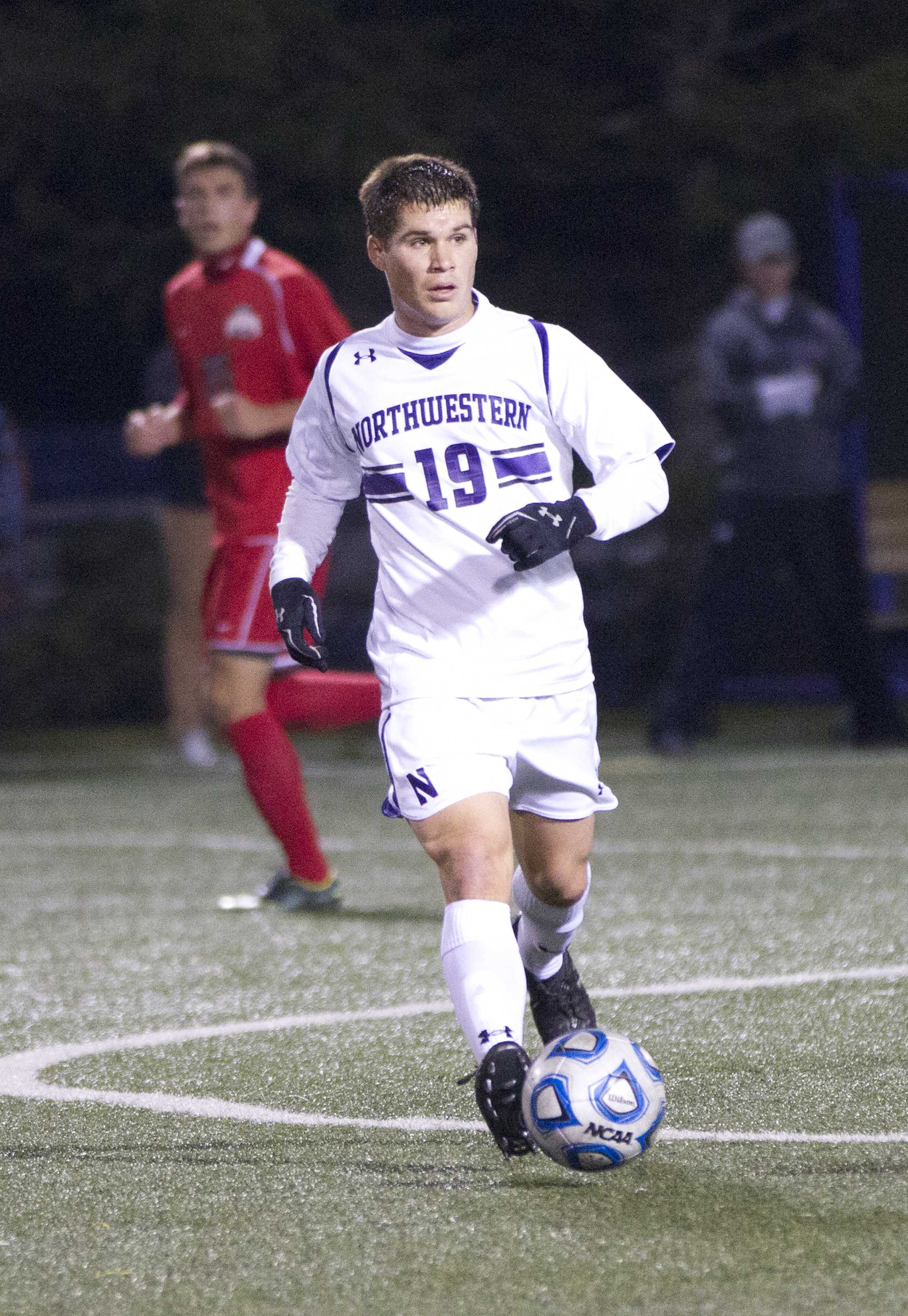 Northwestern midfielder Kyle Shickel celebrates after his goal against Ohio State. Shickel scored one of the Cats' two goals Wednesday evening.