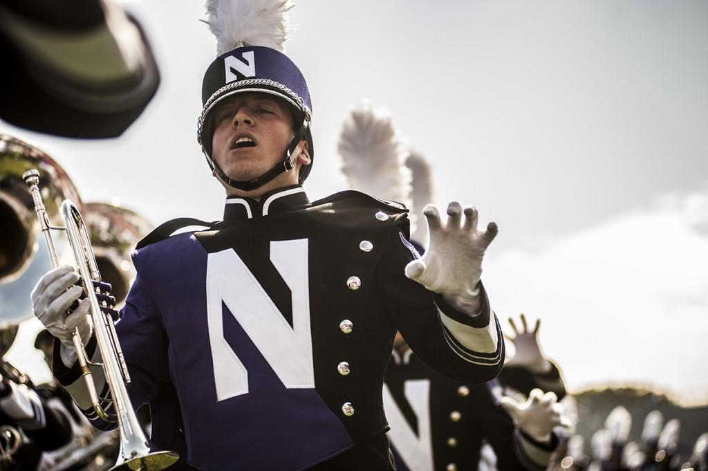 The+Northwestern+University+Marching+Band+plays+the+school+fight+song+before+the+football+game+against+Indiana+on+Sept.+29.+The+fight+song+will+turn+100+years+old+later+this+month%2C+and+a+contest+is+being+held+for+fans+to+submit+their+own+renditions.