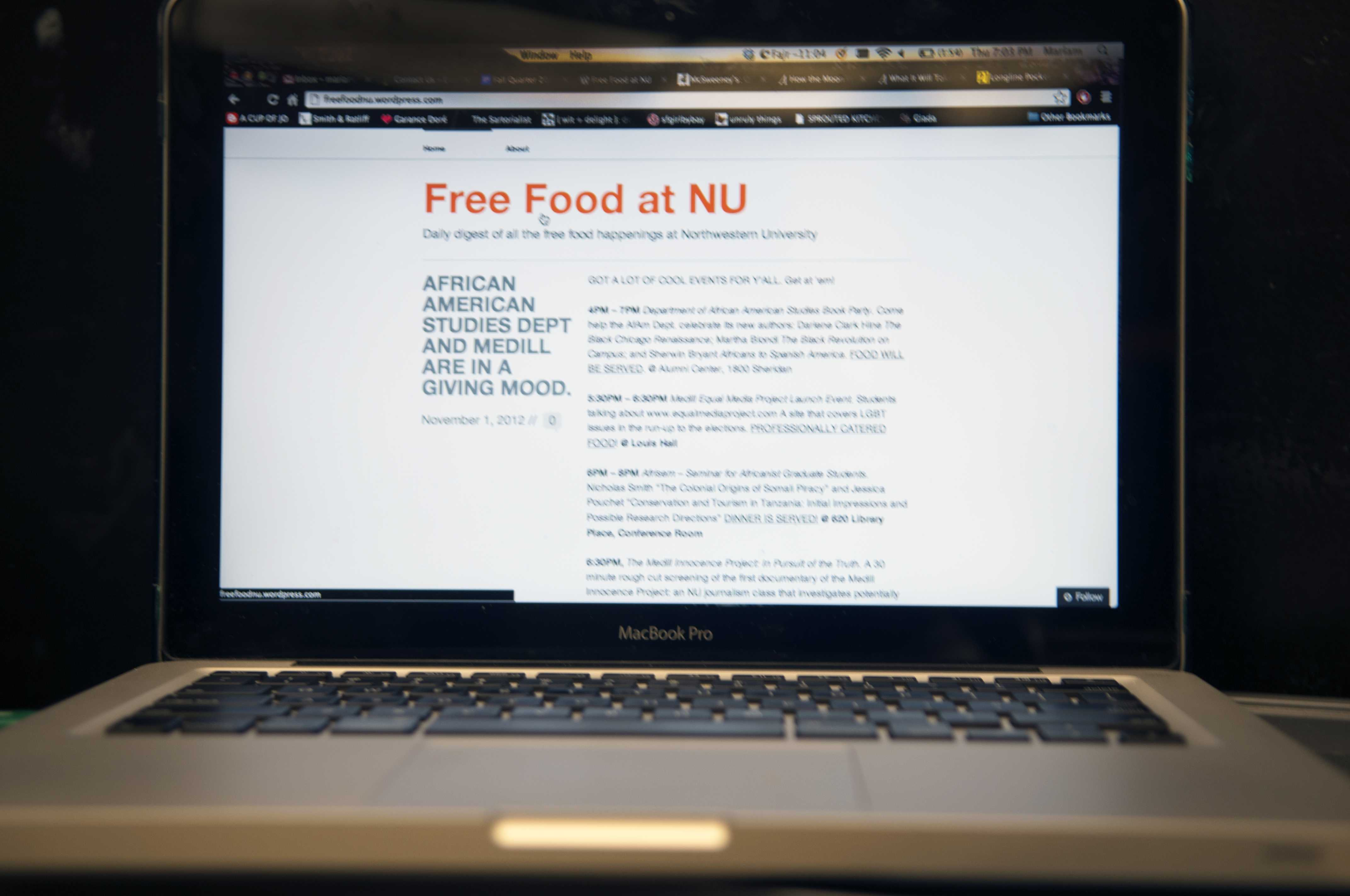 Weinberg senior Alice Jeon started the Twitter account and blog FreeFoodNU on Monday night. The account garnered student attention with more than 180 followers.