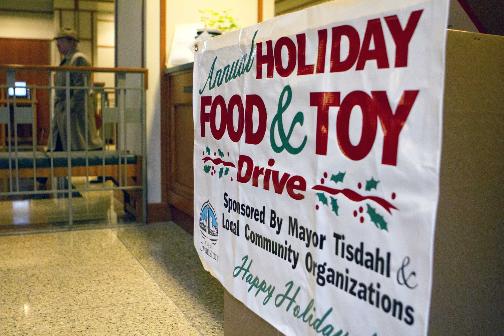 Evanston's annual Holiday Food and Toy Drive, sponsored by the city and local community organizations, has nine drop-off locations, including this spot at the Evanston Public Library on Orrington Avenue. Residents can bring new toys and non-perishable food items to the different drop-off sites or make donations online through Dec. 14.