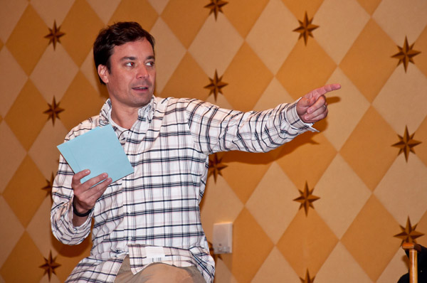 """The show must go on. Jimmy Fallon sent his audience home before Hurricane Sandy hit, but he continued to film """"Late Night."""""""
