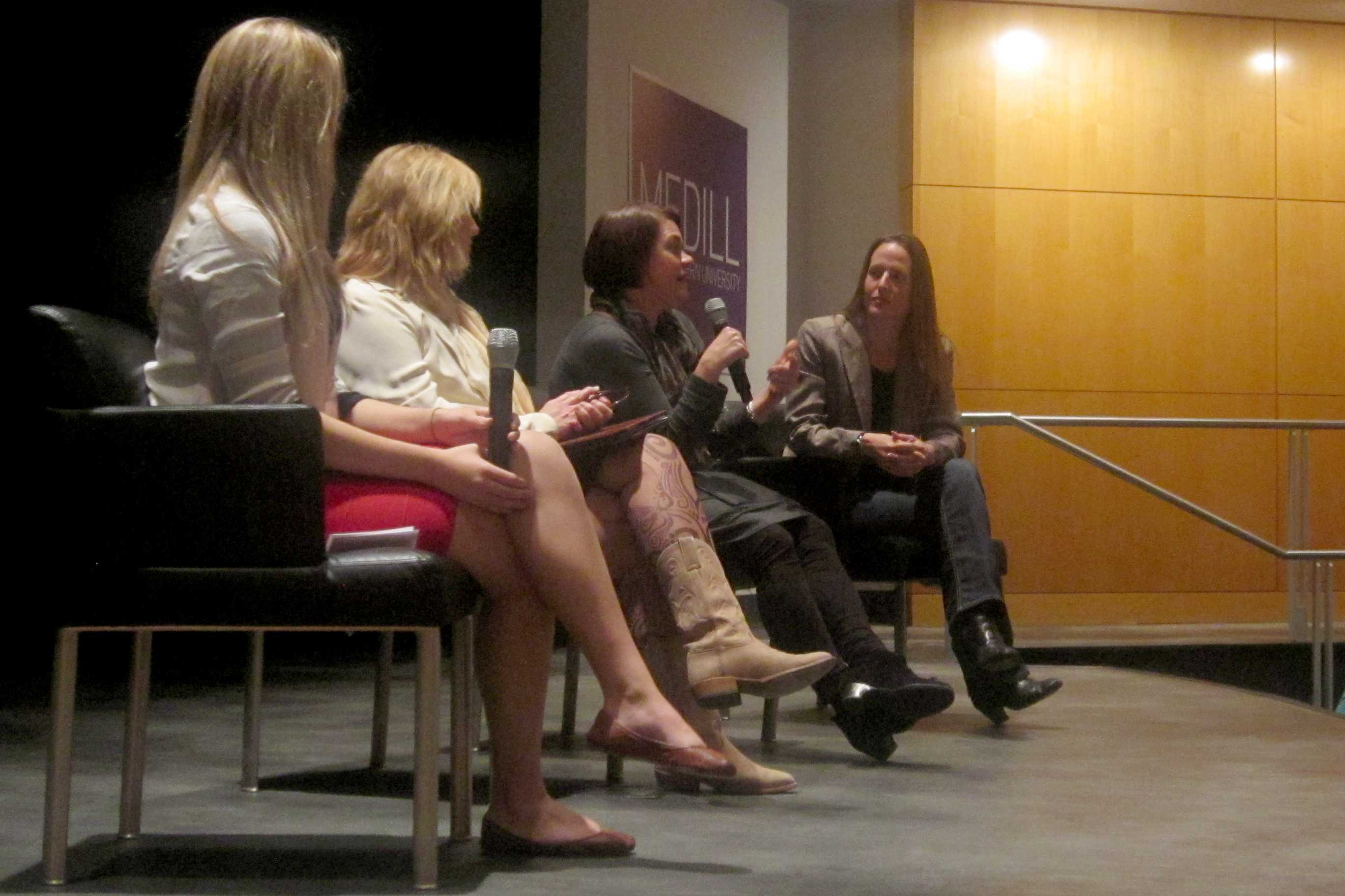 """Northwestern faculty members Renee Engeln-Maddox, Patti Wolter, Michele Weldon and a moderator (right to left) participate in a panel discussing """"Miss Representation,"""" a film about the underrepresentation of women in positions of power, on Saturday. The event was sponsored by Medill Undergraduate Student Advisory Council, A&O Productions and the Women's Center."""