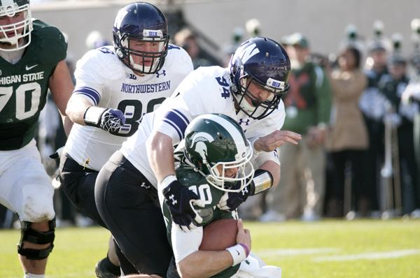 Northwestern defensive end Dean Lowry got his first career sack when he took down Michigan State's Andrew Maxwell on Saturday. He has 13 tackles in 11 games this season, including three that have gone for a loss.