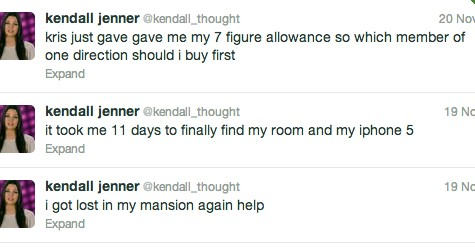 @kendall_thought's Twitter account mocks the Kardashian/Jenner family's wealth.