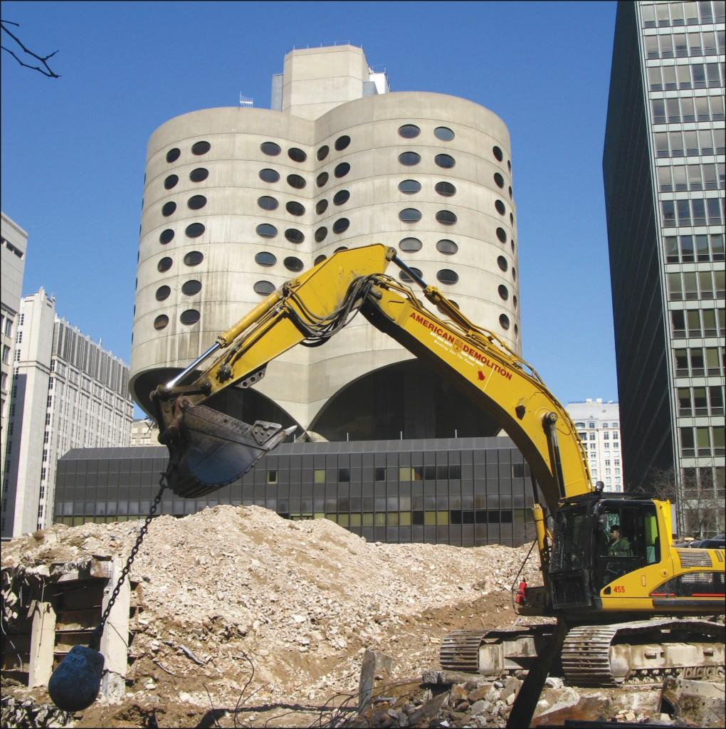 In an undated photo, construction proceeds near Prentice Women's Hospital. The structure has been at the center of an ongoing controversy over its proposed demolition.