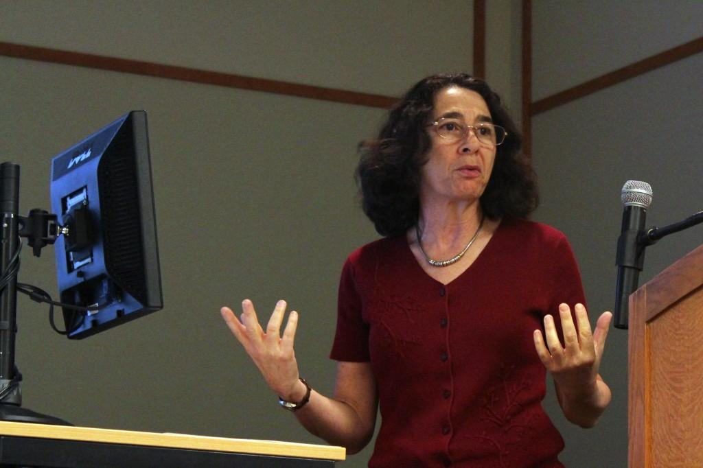Laura Hein, a Northwestern professor of Japanese history, speaks about the post-World War II effects in East Asia. The event, which took place at the Evanston Public Library, was held as a part of the Kaplan Institute speaker series.