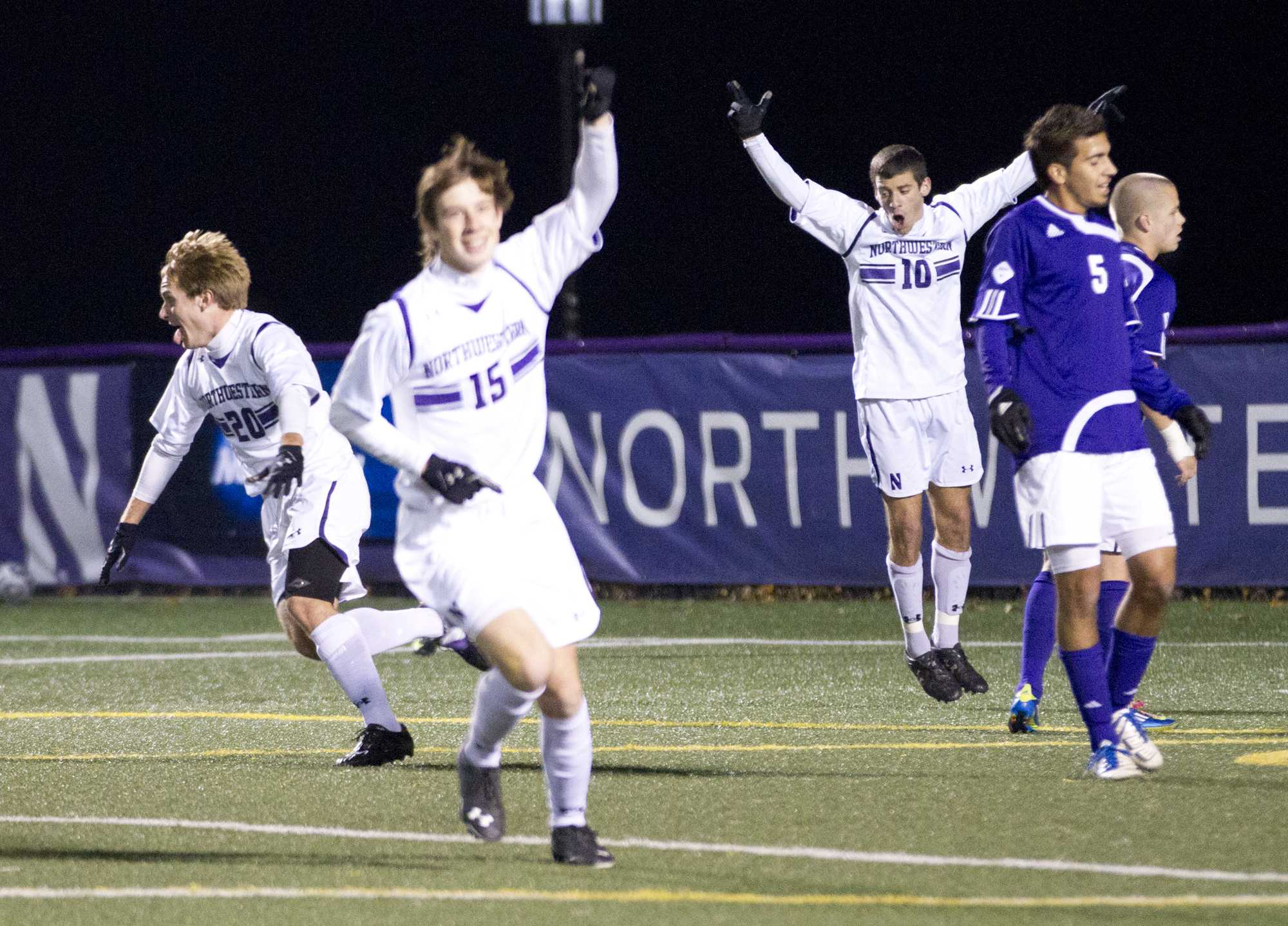 Midfielders Nick Gendron and Cole Missimo celebrate after Northwestern's victory over Western Illinois on Thursday. The Wildcats outshot the Leathernecks 19-7, but Gendron scored the game's only goal.