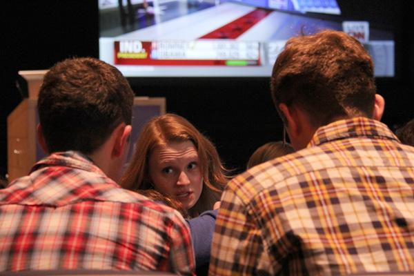 Students and faculty from Medill and the Political Science department gather Tuesday night at McCormick Tribune Center Forum to watch the election on the big screen live from CNN.