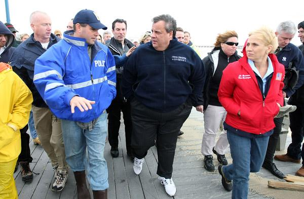 New Jersey Gov. Chris Christie, a known Bruce Springsteen fan, had a moment with his idol at a recent benefit for the victims of Superstorm Sandy.