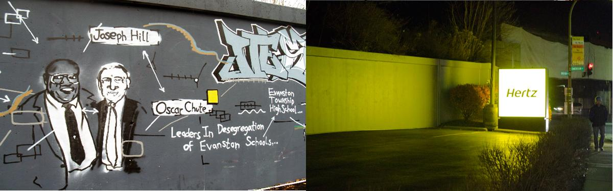 Left: The mural depicting the history of Evanston, composed by an ETHS graduate, pictured in 2009, before the re-painting. Right: A man walks past the newly painted walls near the Hertz rent-a-car business. The Green Bay Road mural was painted over by a landlord who mistook it for graffiti.