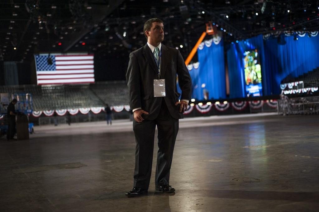 A volunteer stands at the entrance to the floor space at McCormick Place's Lakeside Center before the crowd arrives for President Barack Obama's Election Night rally.