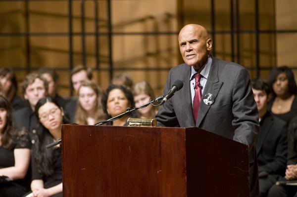 Harry Belafonte, world-renowned singer and humanitarian, delivers the keynote address to conclude Dr. Martin Luther King Jr. celebrations. Belafonte became a close personal friend to Dr. King after meeting him in the 1950's.