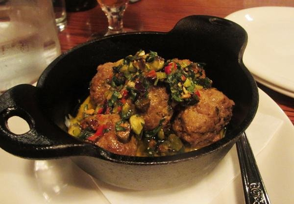Lamb meatballs with a pistachio chimichurri yogurt sauce are a Found signature dish.