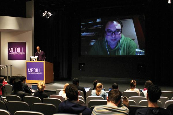 Medill professor Charles Whitaker leads a video-chatting session with Deadspin editor-in-chief Tommy Craggs. Deadspin made national news after it uncovered the Manti Te'o girlfriend hoax.