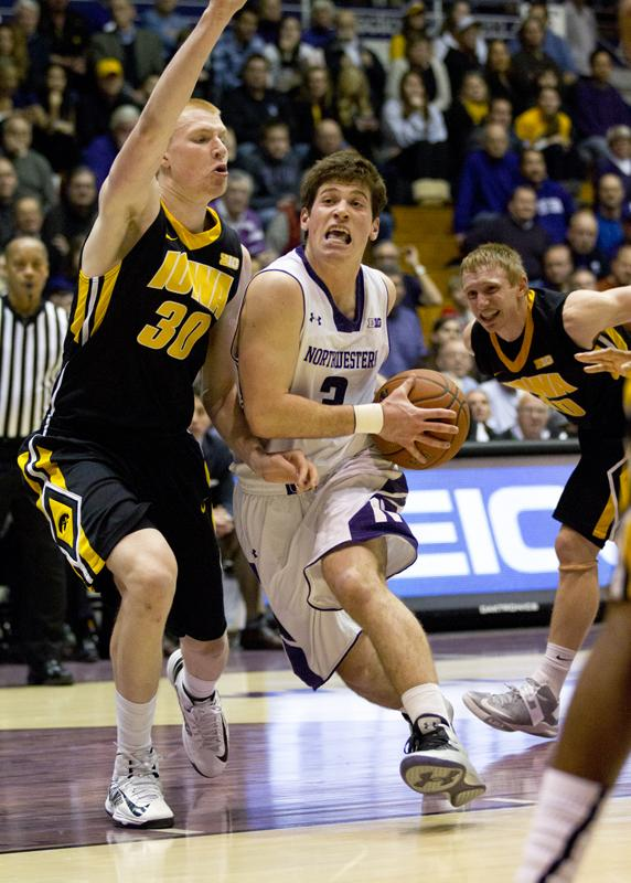 Sophomore guard Dave Sobolewski drives to the hoop. The Wildcats square off against Purdue this weekend.