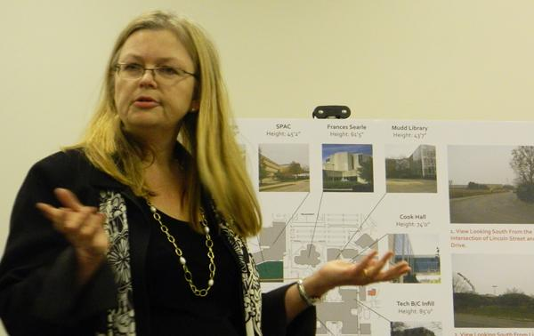 Bonnie Humphrey, NU director of design and construction, presents the University's plan for a new six-story garage on North Campus. The commission hopes to vote on the proposal at their meeting next Tuesday.